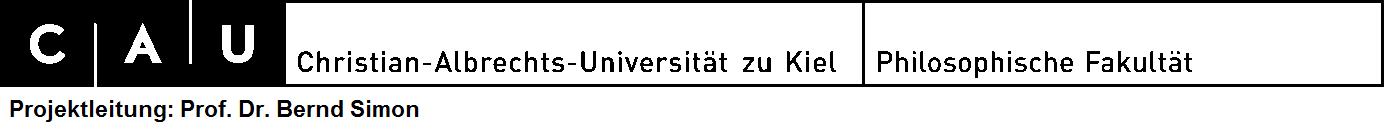 Christian-Albrechts-Universität zu Kiel Institut für Psychologie Lehrstuhl für Sozialpsychologie und Politische Psychologie